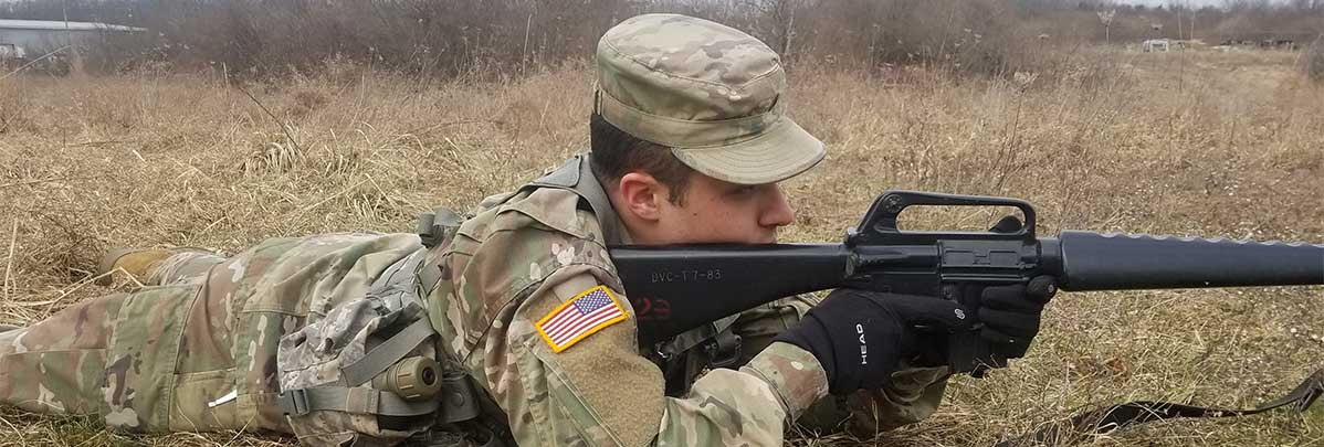 Cadet Gabriel Tolley provides security during a STX lane