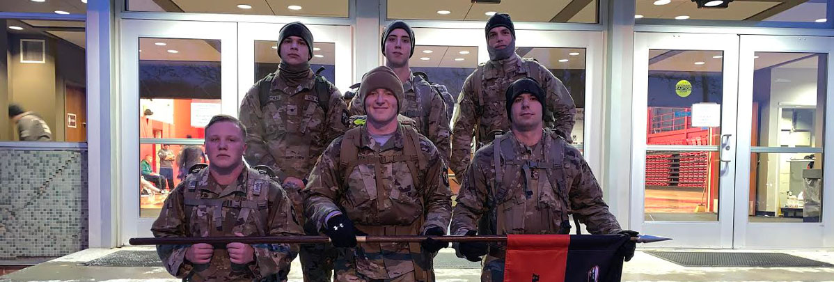 UVA Wise Cadets participate in a cold-weather ruck in preparation for the Mountain Man Memorial March.
