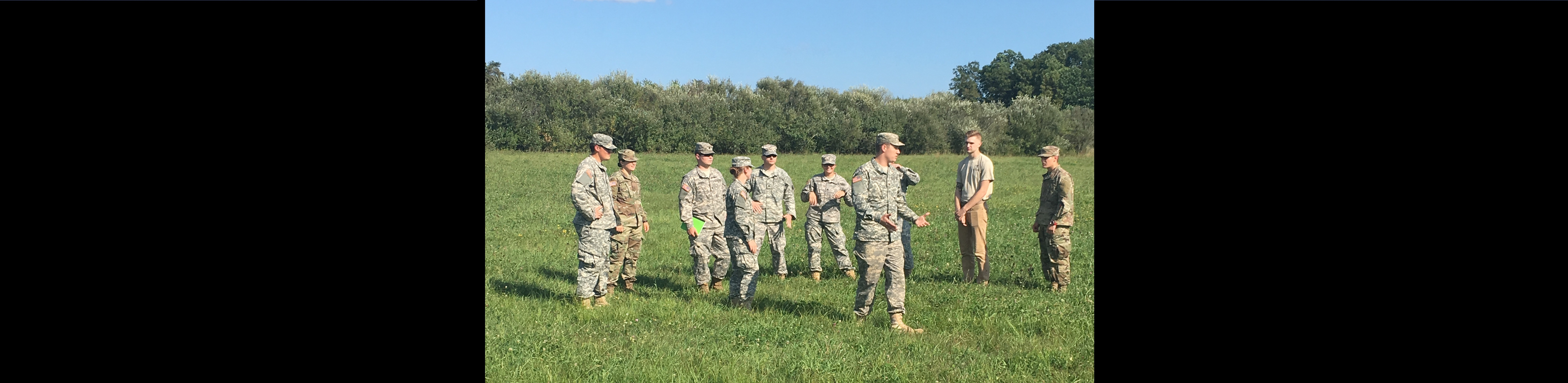 Cadets are lead in a lab of education on Land Navigation to understand beginner level map reading and plotting.