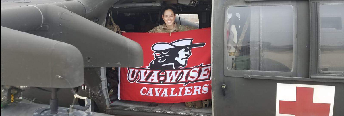 Captain Morgan Bobinski, an ICU critical care nurse and flight nurse, is sharing Cavalier pride. Morgan is one of our first ROTC graduates.